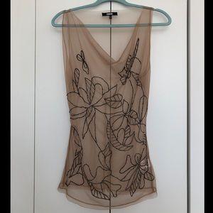 NWOT ASOS Nude Sleevless Mesh Sequined Top Sz 8